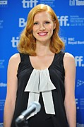 2010s Fashion Framed Prints - Jessica Chastain At The Press Framed Print by Everett