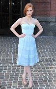Strapless Dress Photo Posters - Jessica Chastain Wearing A Christian Poster by Everett