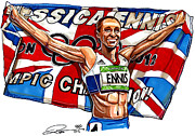Great Britain Drawings - Jessica Ennis by Dave Olsen