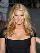 Hair Parted Posters - Jessica Simpson At Talk Show Appearance Poster by Everett