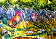 Frog Mixed Media Originals - Jessicas Chickens by Helen Kern