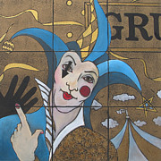 Clown Painting Originals - Jester In Blue by Susanne Clark