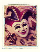 Polaroid Transfer Prints - Jester mask Print by Garry Gay