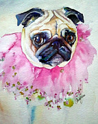 Fawn Pug Paintings - Jester Pug by Christy  Freeman