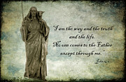 Winter Scene Photo Prints - Jesus - Christian Art - Religious Statue of Jesus - Bible Quote Print by Kathy Fornal