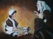Priests Paintings - Jesus About His Fathers Business by Rosetta  Jallow