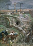 Bible Painting Prints - Jesus Alone on the Cross Print by Tissot