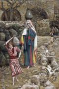 Israel Painting Prints - Jesus and His Mother at the Fountain Print by Tissot