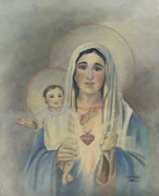 Jesus Art Paintings - Jesus and Mary by Cecilia  Brendel