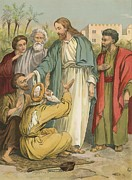 Bible Painting Prints - Jesus and the Blind Men Print by English School