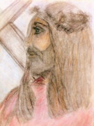 Catholic Art Drawings Originals - Jesus and the Cross  by Deborah  Yeager