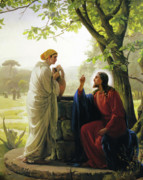 Jesus Painting Prints - Jesus and the Samaritan Woman Print by Carl Bloch