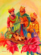Navidad Paintings - Jesus and the Wise Men by Estela Robles