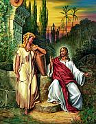 Biblical Scene Posters - Jesus and the Woman at the Well Poster by John Lautermilch