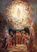 Gospels Paintings - Jesus ascending into heaven by William Brassey Hole