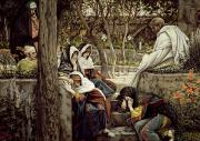 Tissot Painting Metal Prints - Jesus at Bethany Metal Print by Tissot