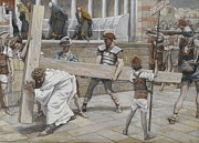 Tissot Painting Metal Prints - Jesus Bearing the Cross Metal Print by Tissot
