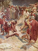 New Testament Paintings - Jesus being crucified by William Brassey Hole