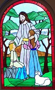 Religious Art Glass Art - Jesus Blesses the Children by Gladys Espenson
