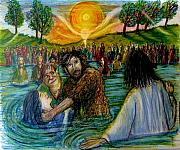 Jesus Drawings - Jesus came to John the Baptist  by Richard  Hubal