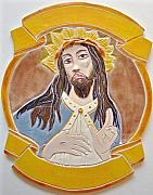 Carved Ceramics - Jesus Ceramic  Icon by Anastasia Verpaelst