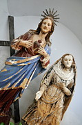 Female Likeness Framed Prints - Jesus Christ and Saint statues in church Framed Print by Sami Sarkis
