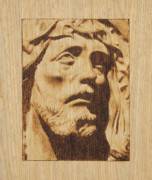 Portrait Pyrography Framed Prints - Jesus Christ Framed Print by Conrad  Pinto