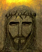 Coal Drawings Prints - Jesus Christ Print by Nicole  Cris