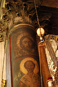 Nativity Digital Art - Jesus Christ Image on Pillar of Church of the Nativity in Bethlehem by Eva Kaufman
