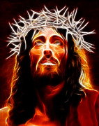 Christ Face Digital Art Prints - Jesus Christ Our Savior Print by Pamela Johnson