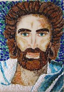 God Glass Art - Jesus Christ Portrait by Gladys Espenson