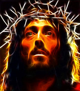 Christ Face Digital Art Prints - Jesus Christ The Savior Print by Pamela Johnson