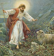 Vines Painting Posters - Jesus Christ The Tender Shepherd Poster by Ambrose Dudley