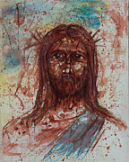 Crucifix Art Painting Metal Prints - Jesus Christ Metal Print by Thomas Lentz