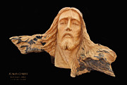 Face Pyrography Posters - Jesus Christ Wooden Sculpture -  Four Poster by Carl Deaville