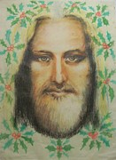 Jesus Drawings Originals - Jesus- Christmas Holly by Anne Provost
