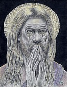 Jesus Drawings Originals - Jesus Crying For Us by Vincnt Clark