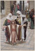 Gouache Prints - Jesus Found in the Temple Print by Tissot