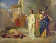 Faith Paintings - Jesus Healing the Leper by Jean Marie Melchior Doze