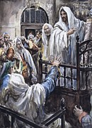 Crowds Painting Framed Prints - Jesus  Framed Print by Henry Coller
