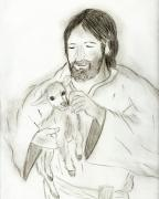 Religious Drawings Framed Prints - Jesus holding Lamb Framed Print by Sonya Chalmers