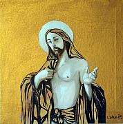 Icon Paintings - Jesus Icon by Matthew Lake