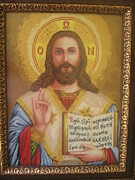 Picture Tapestries - Textiles Originals - Jesus icon by Veselina Simeonova