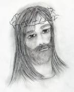 Jesus Drawings Prints - Jesus In Agony Print by Sonya Chalmers