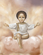 Christ Child Digital Art Prints - Jesus in clouds Print by Lyubomir Kanelov
