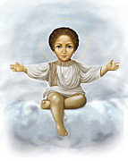 Child Jesus Posters - Jesus in clouds2 Poster by Lyubomir Kanelov