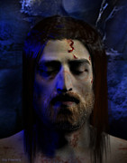 Christ Face Posters - Jesus in Death Poster by Ray Downing