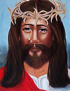 Holiday Paintings - Jesus in Red by Joni McPherson