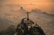 Brazil Metal Prints - Jesus in Rio Metal Print by Christian Heeb