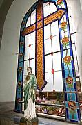 Jesus In The Church Window And School Girls In The Background Print by Sven Brogren